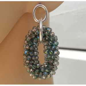 Zilveren oorbellen met groene kristallen ovale hanger