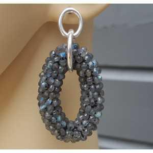 Silver earrings oval pendant of Labradorite