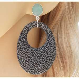 Zilveren oorbellen met Chalcedoon en grijs Roggenleer