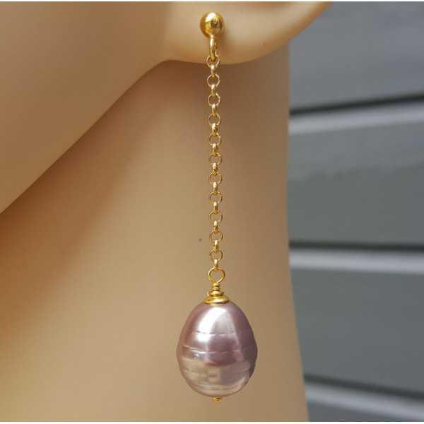 Ohrringe mit lila Mallorca-Perle