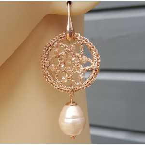 Oorbellen met Majorca parel en hanger met kristallen