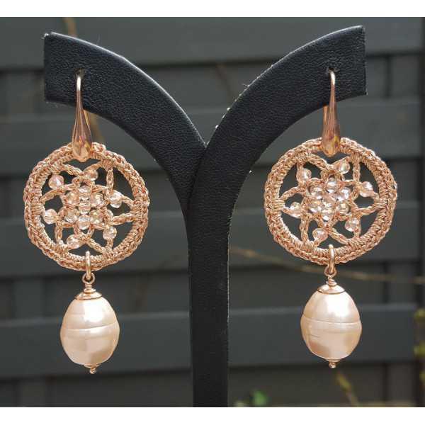 Ohrringe mit Mallorca-Perle-Ohrring-und Anhänger mit Kristallen