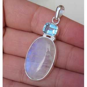 Zilveren hanger met ovale Maansteen en blauw Topaas
