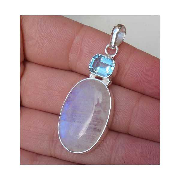 Silber Anhänger mit ovalem Mondstein und Blautopas