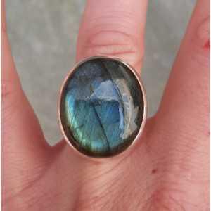 Silber ring set mit ovalen cabochon Labradorit 15,7 mm