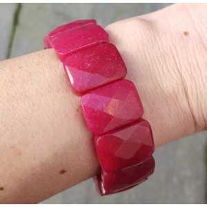 Wide red Jade strech bracelet