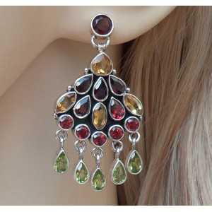 Silver earrings with Peridot, Garnet and Citrine