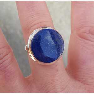 Silber ring mit rundem cabochon Lapis Lazuli 18,5 mm