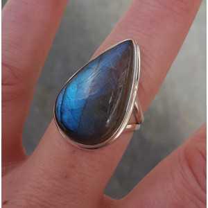 Silber-ring mit ovalem Labradorit Größe 18 mm