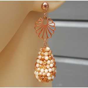 Rosé vergulde oorbellen met druppel van kristallen