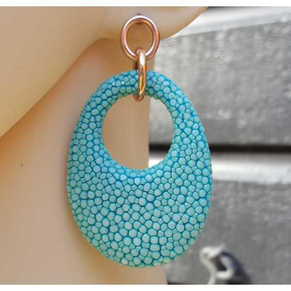 Ohrringe mit ovalem Anhänger aus Türkis-blau Roggenleer