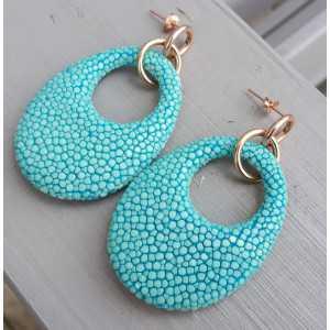 Oorbellen met ovale hanger van Turkoois blauw Roggenleer