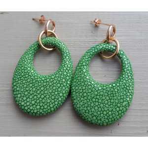 Ohrringe mit ovalem Anhänger hellgrün Roggenleer