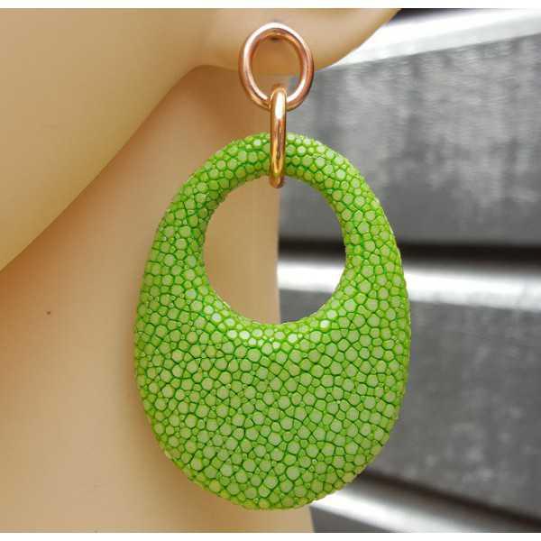 Ohrringe mit ovalem Anhänger apple grün Roggenleer
