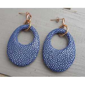 Ohrringe mit ovalem Anhänger aus dunkelblauen Roggenleer