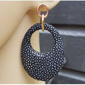 Earrings with oval pendant, black Roggenleer