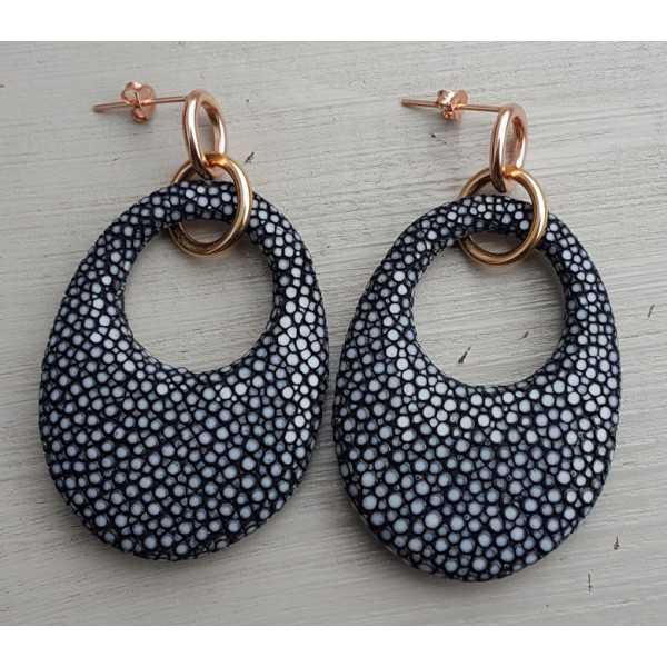 Ohrringe mit ovalem Anhänger, schwarz Roggenleer