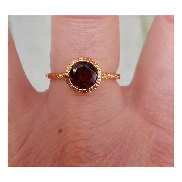 Rosé gold-plated ring set with Garnet and 18 mm