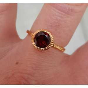Rosé-gold-plated ring-set mit Granat und 18 mm