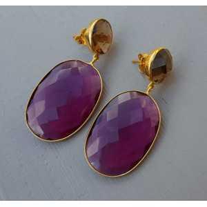 Vergulde oorbellen met Honey Topaas en roze Toermalijn quartz