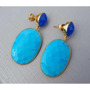 Vergulde oorbellen gezet met Turkoois en kobalt blauw Chalcedoon