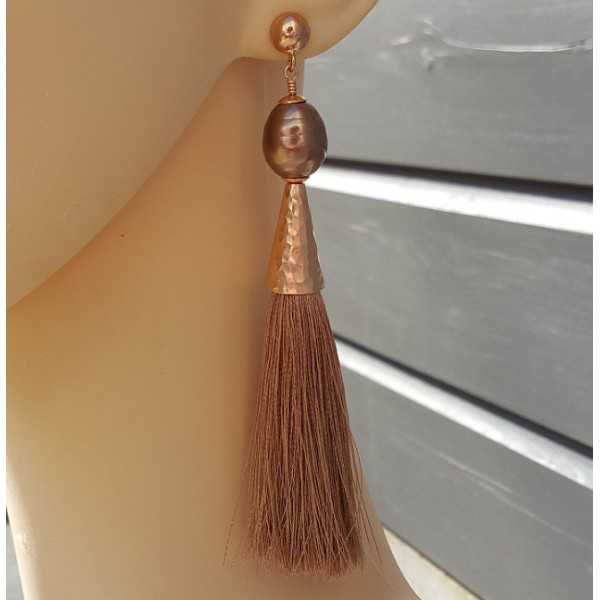 Rosé vergoldete Ohrringe mit Mallorca-Perle und Quaste