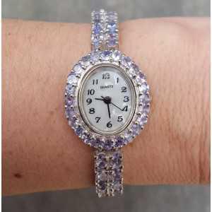 Zilveren horloge gezet met Tanzaniet