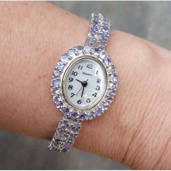 Silberne Uhr mit Tanzaniet