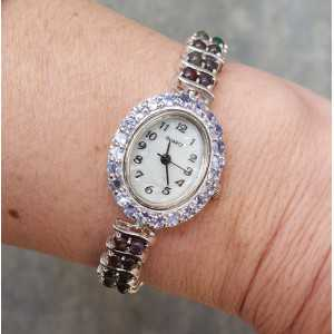 Silver watch with Tanzaniet and black Ethiopian Opals