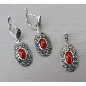 Silver earrings and pendant set with Carnelian and Markasiet