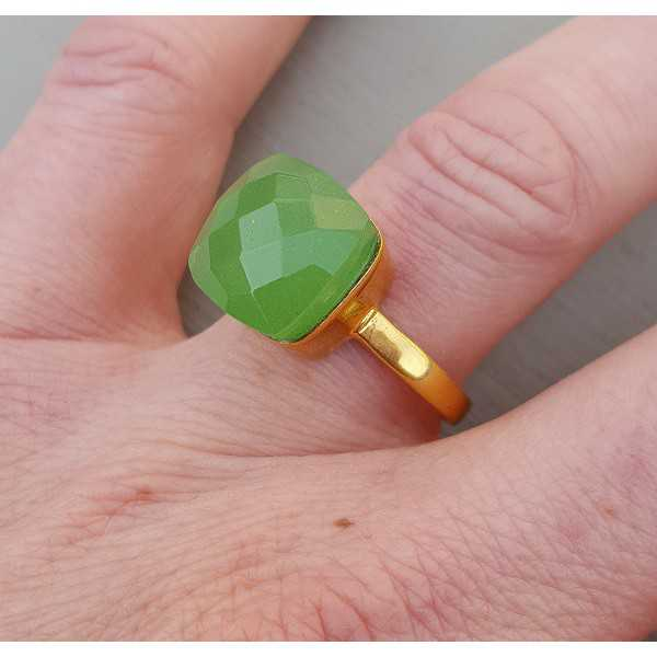 Gold plated ring with square apple green variety of Chalcedony 18 or 20 mm