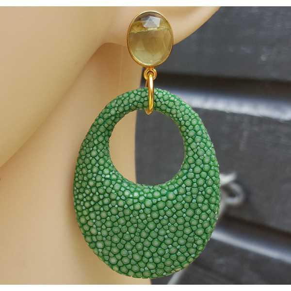 Ohrringe mit grünem Amethyst und Ovale Anhänger der grünen Roggenleer