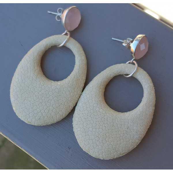Ohrringe rosa Chalcedon und oval Anhänger von Licht Creme Roggenleer