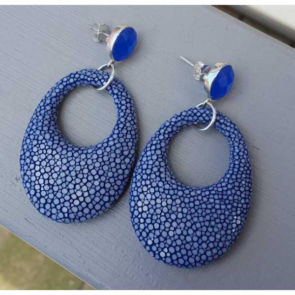 Ohrringe blau Chalcedon und oval-Anhänger in blau Roggenleer