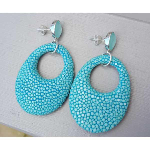 Ohrringe aqua Chalcedon und oval-Anhänger-Türkis-blau Roggenleer
