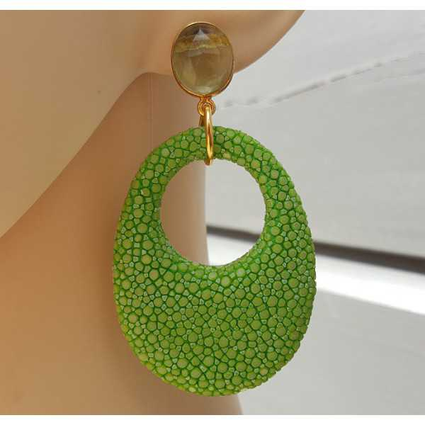 Ohrringe grün Amethyst und Anhänger apple grün Roggenleer
