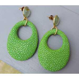 Oorbellen groene Amethist en hanger appeltjes groen Roggenleer