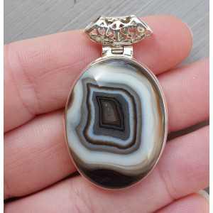 Zilveren hanger ovale cabochon zwarte Botswana Agaat