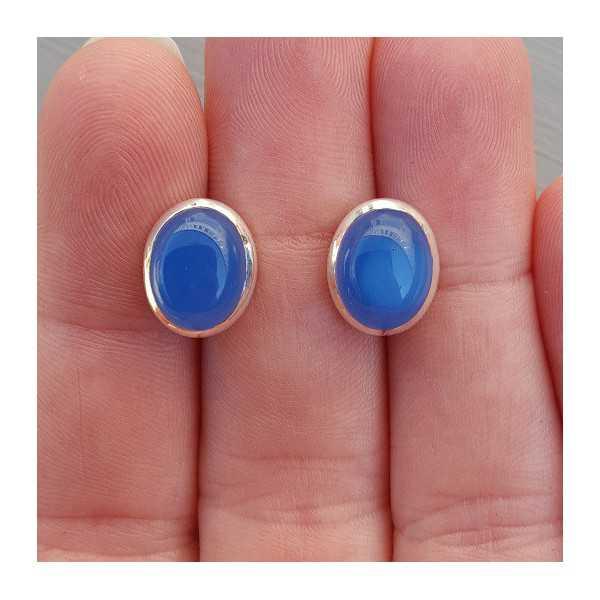 Silber oorknoppen mit Kobalt-blauer Chalcedon