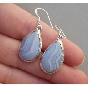 Zilveren oorbellen met druppelvormige blauw Lace Agaat
