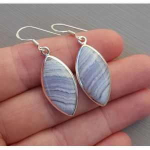 Zilveren oorbellen gezet met marquise blauw Lace Agaat