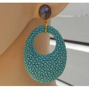 Gold plated earrings Labradorite and oval pendant of Turquoise blue Roggenleer