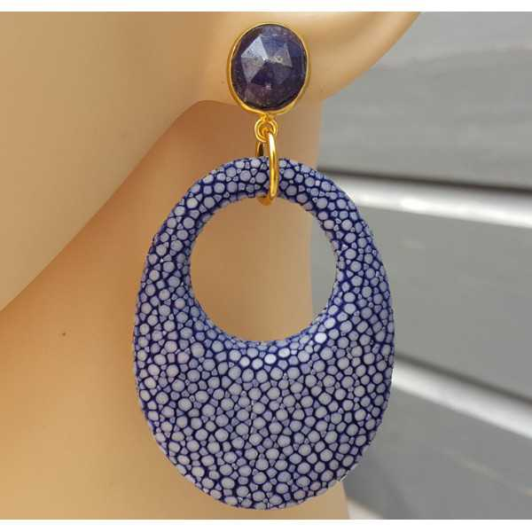 Gold plated earrings with Sapphire and blue Roggenleer