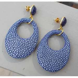 Vergulde oorbellen met Saffier en blauw Roggenleer