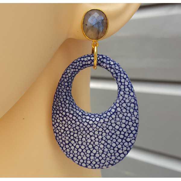 Oorbellen met Labradoriet en ovale hanger van blauw Roggenleer
