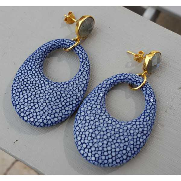 Earrings with Labradorite and oval-shaped pendant of blue Roggenleer