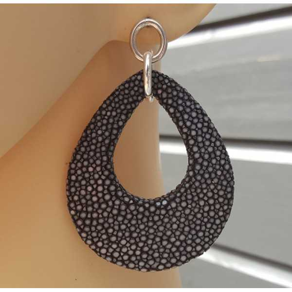 Earrings with a drop of black Roggenleer