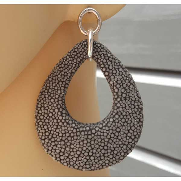 Earrings with drop of grey Roggenleer