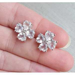Zilveren oorknoppen met Zirkonia en Rozenkwarts