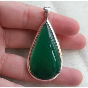 Zilveren hanger druppelvorm groene Onyx strakke setting